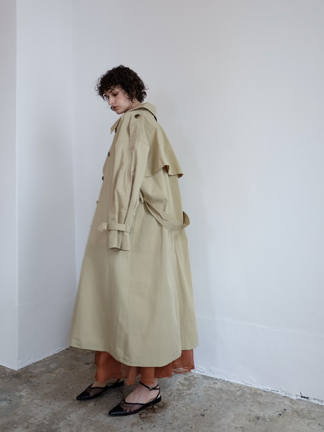 pleats trench coat(beige)