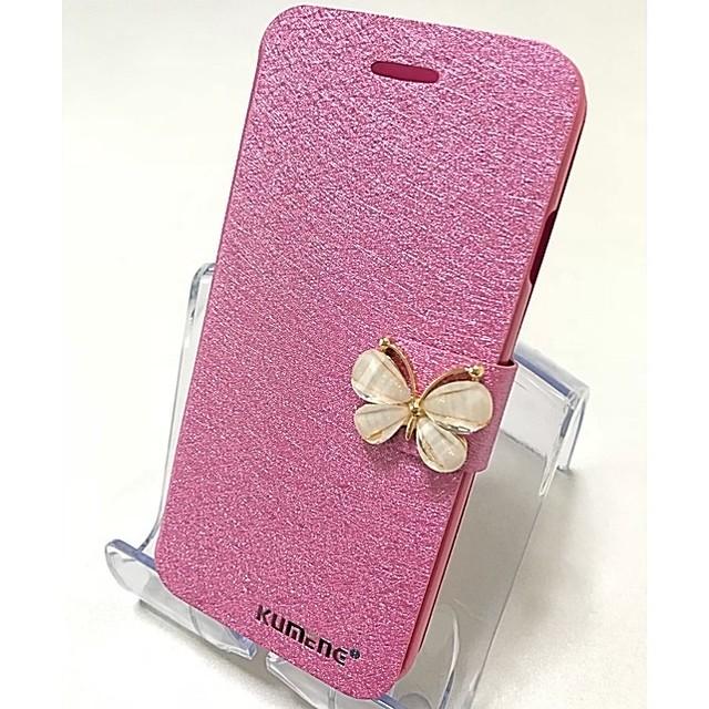 iPhoneケース 手帳型 スマホケース ケース iPhone7Plus iPhone8Plus レディース  蝶々 ピンク