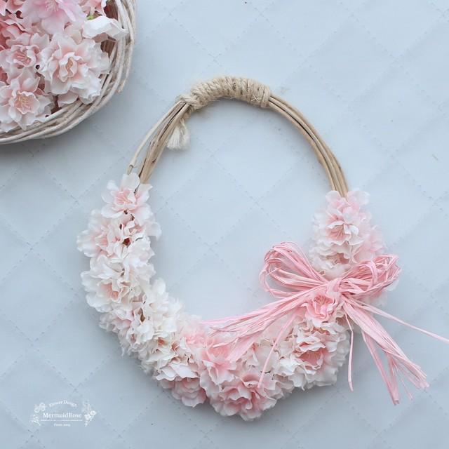 ナチュラルオーバルリース*八重桜