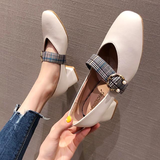 【shoes】スクエアトゥミドルヒール履きやすいPUパンプス