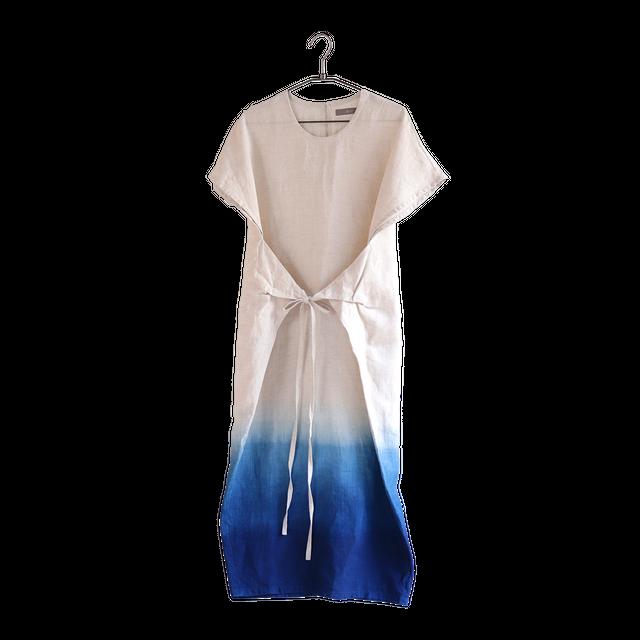 琉球藍染 フロントタイワンピース | グラデーション