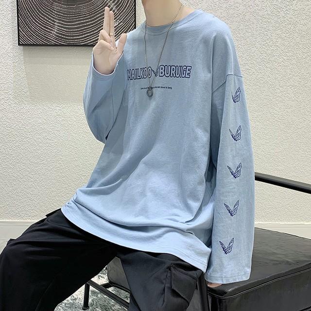海外発送:バタフライプリントロングTシャツ