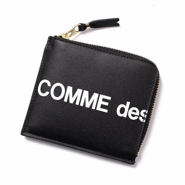 COMME des GARCONS(コムデギャルソン)  L字ファスナー コインケース カードケース コンパクト財布 ミニ財布 ラウンドジップ SA3100HL ブラック BLACK ロゴ HUGE LOGO ユニセックス レザーウォレット[全国送料無料] r014783