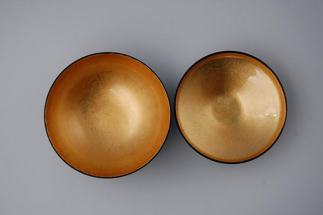 銀かすみ内金箔40平富士椀