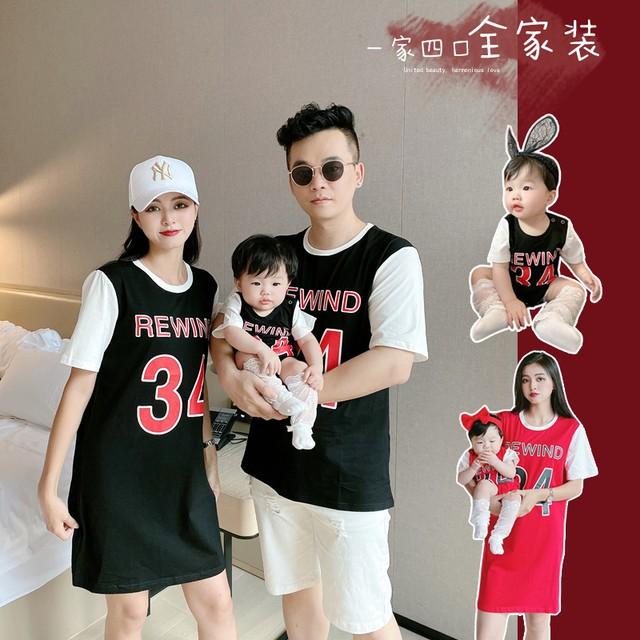 21夏の偽のバスケットボールスポーツスタイルの2つの半袖Tシャツの家族の母と子の長いTシャツのスカート ロング サマー 夏物 上上家原创亲子装 上上家原创亲子装91433672831