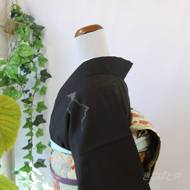 正絹紬 黒地に麻の葉の総柄小紋 袷