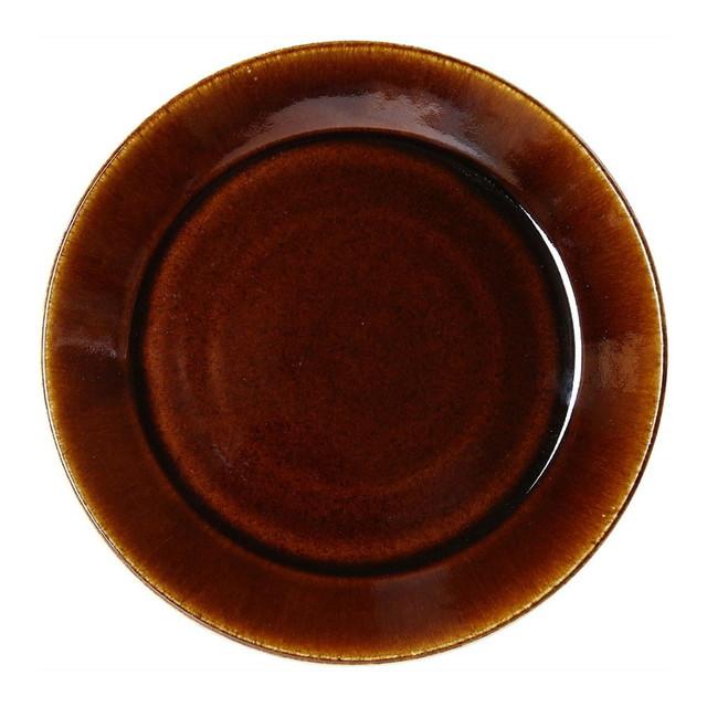 益子焼 つかもと窯 伝統釉 フラット プレート 皿 L 飴釉 TH-1