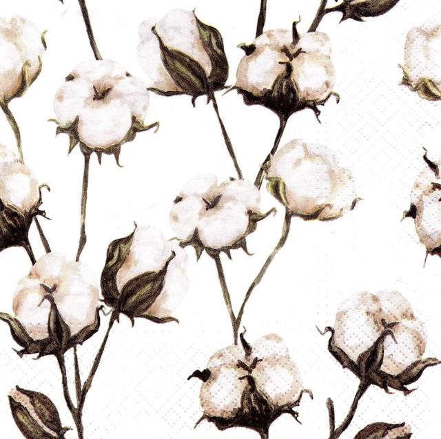 【TETE a TETE】バラ売り2枚 ランチサイズ ペーパーナプキン COTTON BRANCHES ホワイト