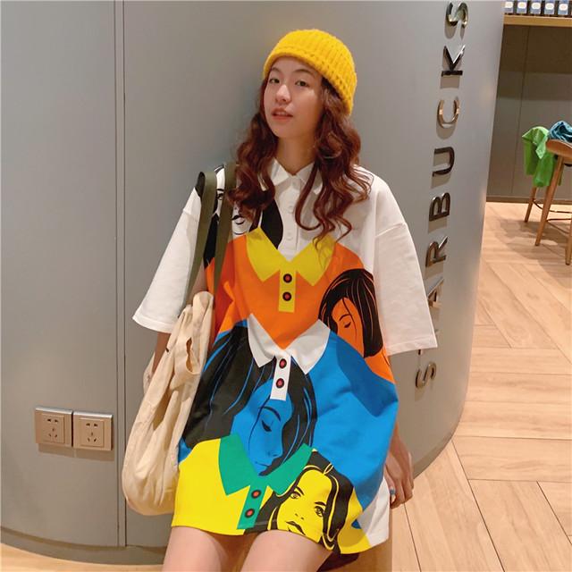 【トップス】poloネックカラフルキュートカジュアルTシャツ27408106