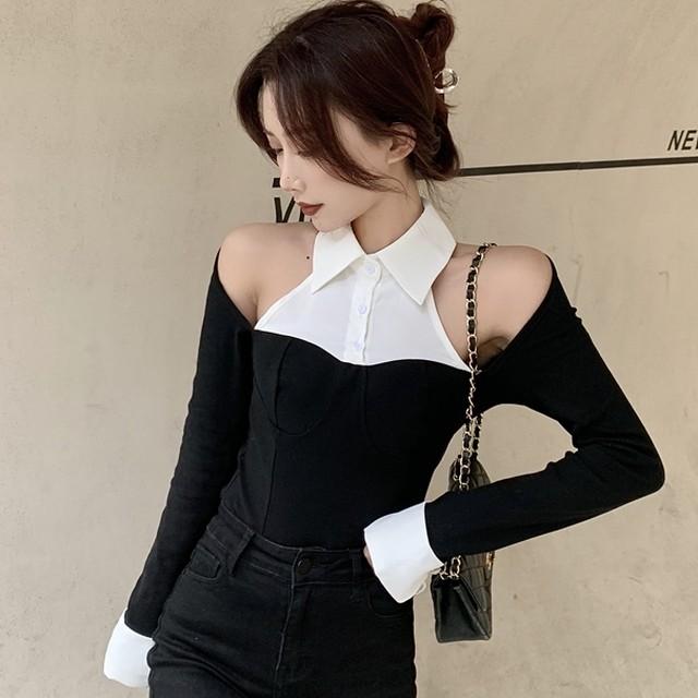 【トップス】魅力的 切り替え セクシー オープンショルダー 折襟  痩せや効果 Tシャツ38424649