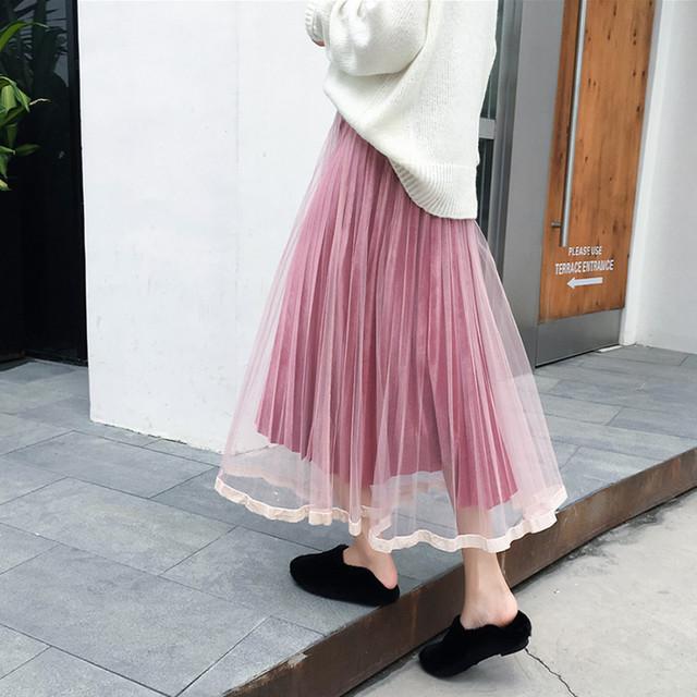 メッシュ ベロアスカート ひざ丈スカート SHQ262001