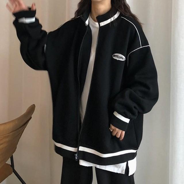 【tops】韓国系長袖着痩せプラスベルベット厚手ジッパージャージ