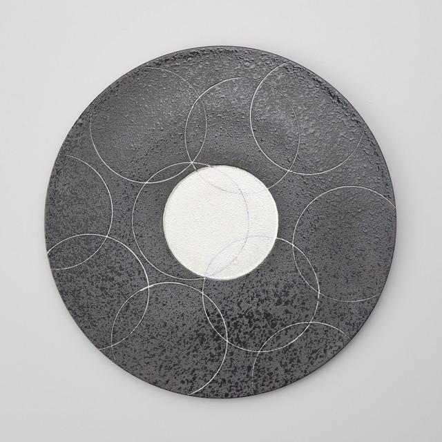 【親峯窯】錦ラスター青丸紋レコード盤洋皿