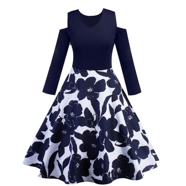 【dress】花柄ワンピースプリントラウンドネックAラインファッション