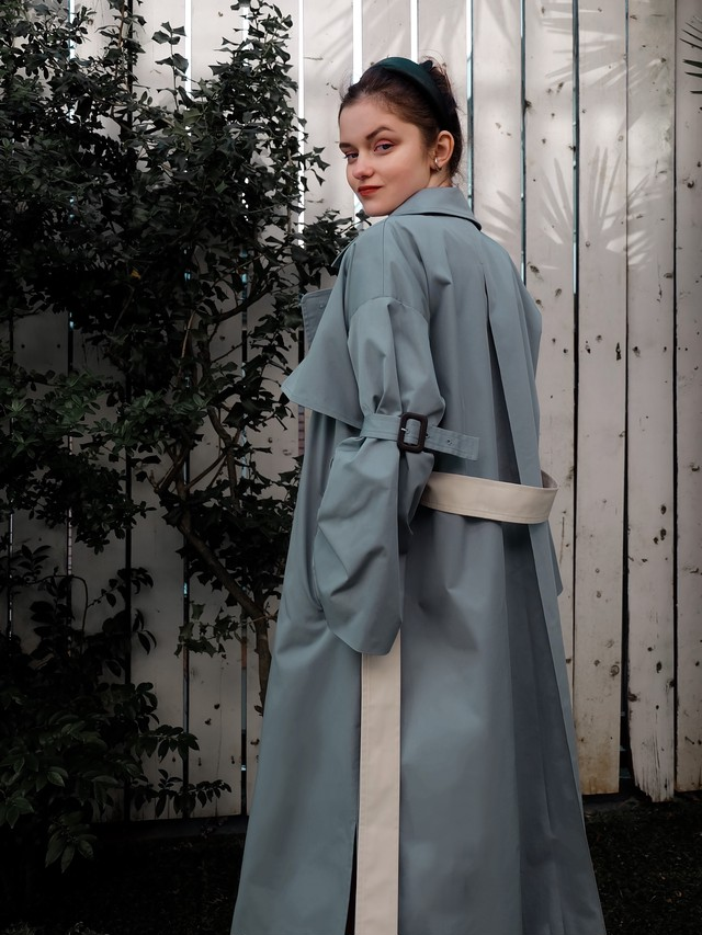bell sleeve trench(dusty blue)