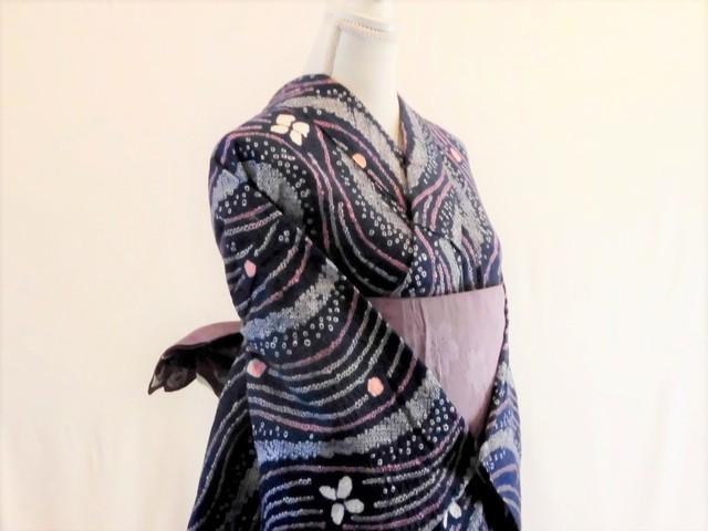 【S-9】丈151 裄63 紫 桔梗柄 流線模様 鹿の子絞り  絞り 浴衣 リサイクル