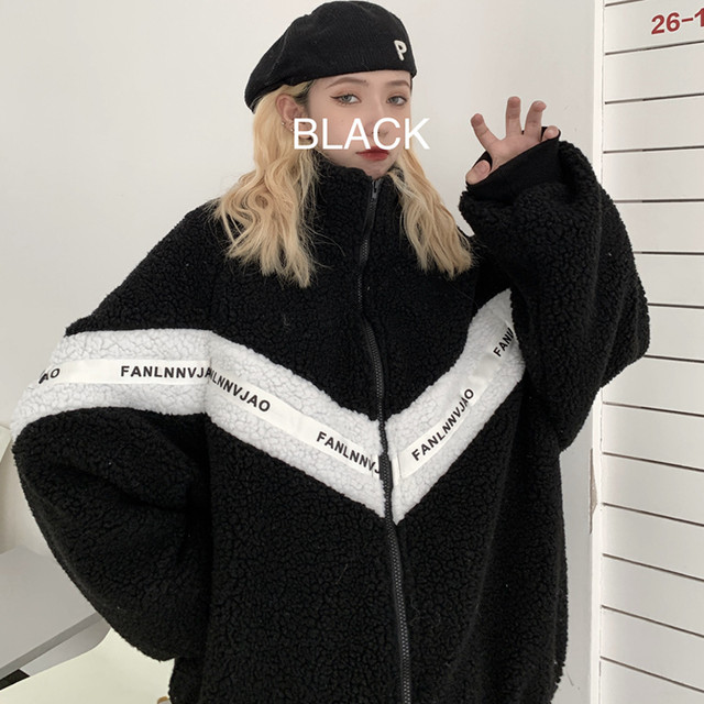 【大魔王シリーズ】★アウター★ 2color 男女兼用 メンズ カップル服 アルファベット 暖か M L ブラック ホワイト 黒い 白い