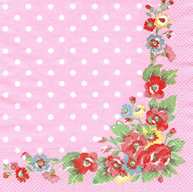 【Cath Kidston】バラ売り1枚 ランチサイズ ペーパーナプキン FOLK FLOWERS ローズ