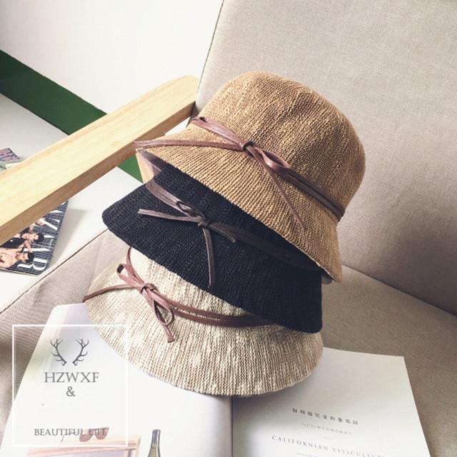 【小物】ファッション通気日焼け止めボウタイサークル帽子