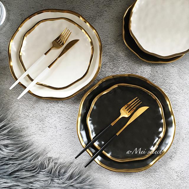 国内外で爆発的人気♪4本1セット [2カラー]高品質デザイナーズゴールドカトラリー 海外デザイン お洒落   フォーク ナイフ スプーン 食器