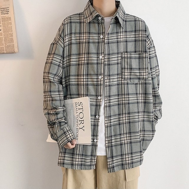 loose silhouette check shirt PD2411