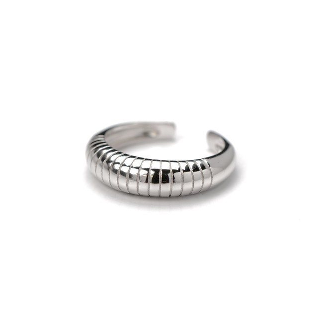 S925 THICK LINED ARC RING SILVER