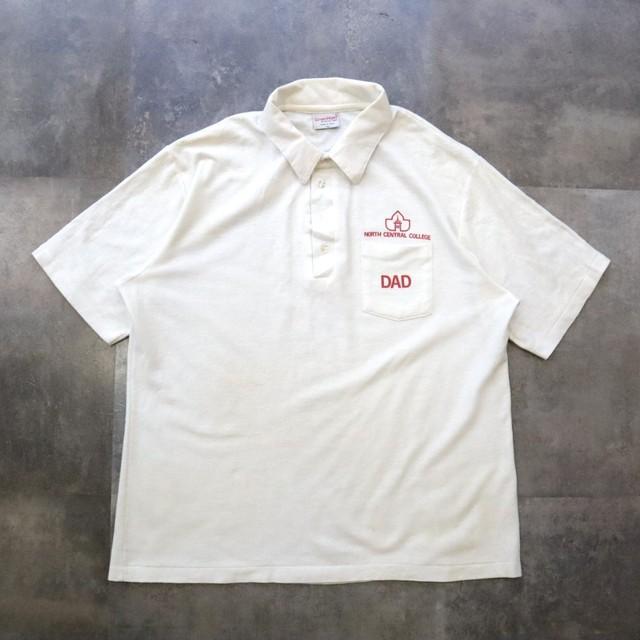 made i USA white polo shirt