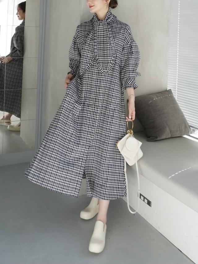 【予約】frill check shirt onepiece / black × white 8/21 21:00 ~ 再販 (10月上旬発送予定)