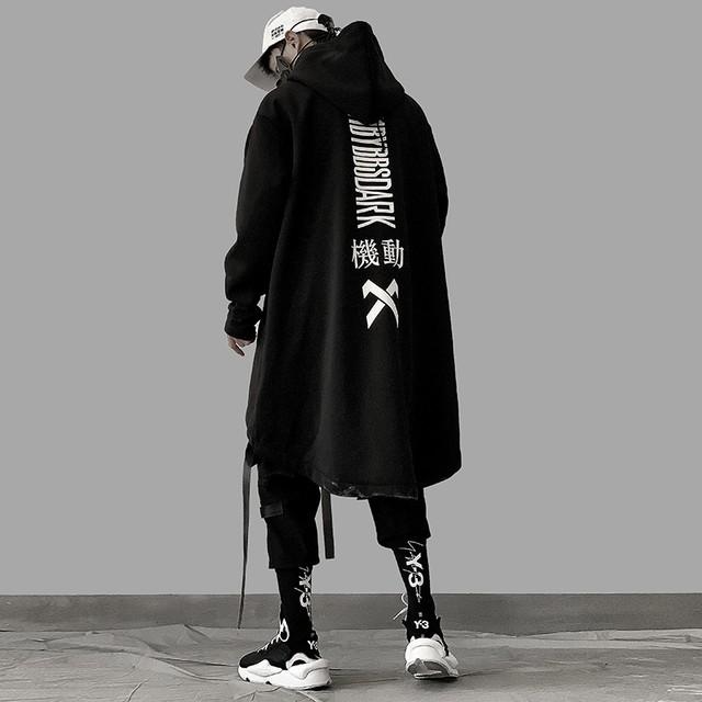 【蒸汽シリーズ】★ロングコート★アウター 男女兼用 メンズ カップル服 オーバーサイズ M L LL ブラック 黒い