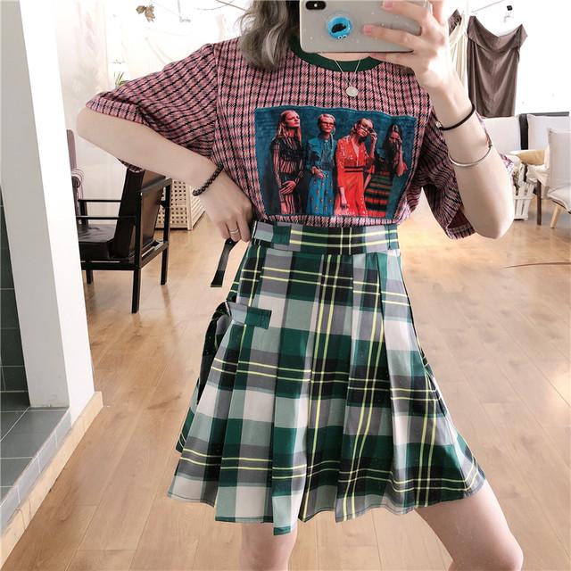【set】【単品注文】ファッション韓国系ボーダー柄配色Tシャツ/チェック柄