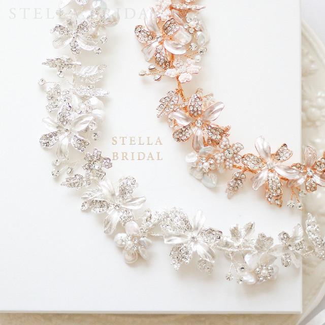 スワロ使用 オーガニックパールとフローラルチャームの小枝ヘッドドレス アメリア