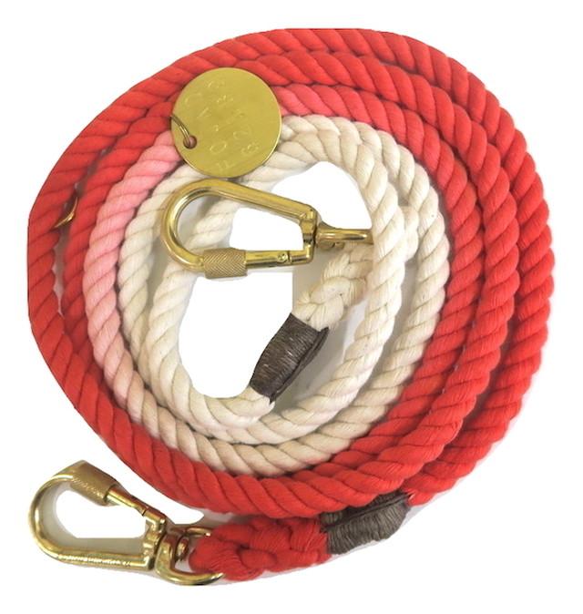 FOUND MY ANIMAL-CORAL OMBRE COTTON ROPE DOG LEASH, ADJUSTABLE(ファウンドマイアニマル・コーラル・オンブレ・コットン・ロープ・ドッグ・リーシュ・アジャスタブル)