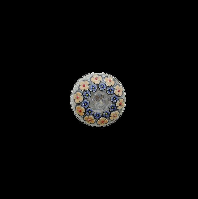 【チェコガラスボタン】2連の花冠・クリア×ピンク ::: 中2.3cm
