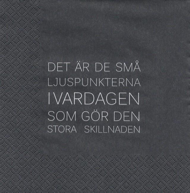北欧【ERNST】バラ売り1枚 ランチサイズ ペーパーナプキン ENKLA グレー スウェーデン語