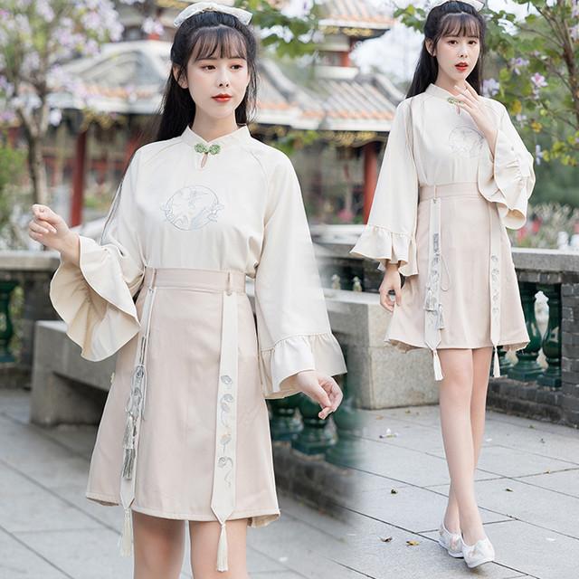 【LIANGRENシリーズ】★チャイナ風セットアップ★ トップス+スカート 改良漢服 上下セット 可愛い レトロ