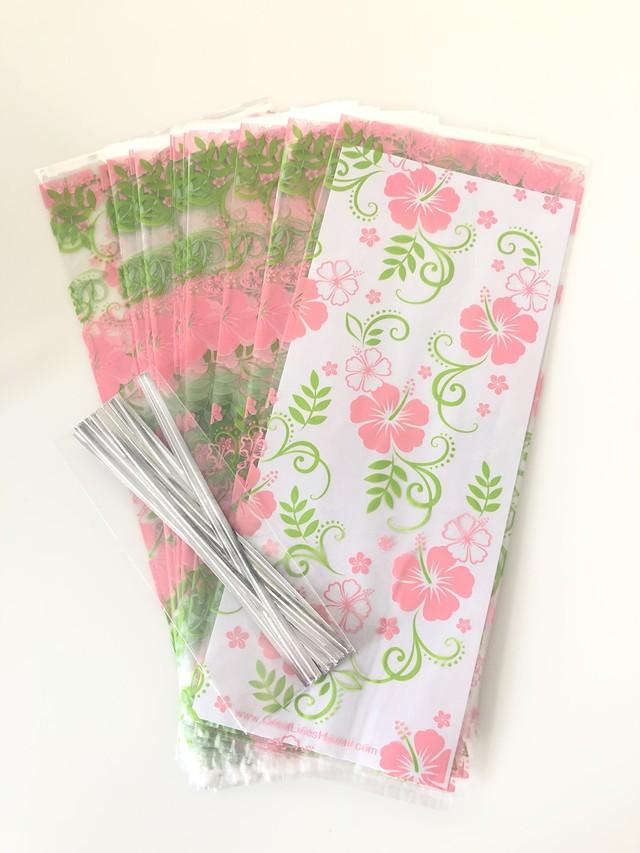 ハワイアンクリアギフトバッグ Pink Hibisucus (20枚セット)