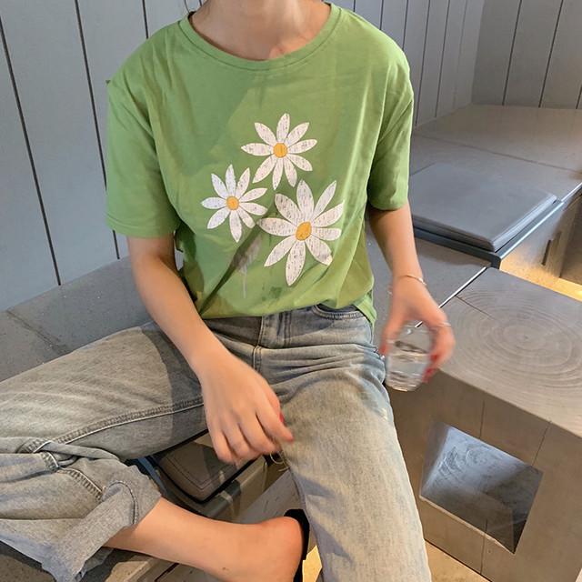 【tops】スウィート清新シンプル半袖着痩せ合わせやすいプリントTシャツ