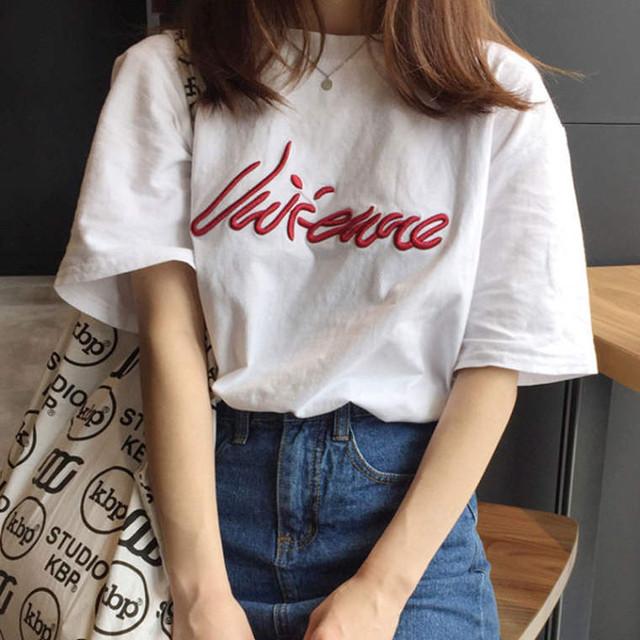 【送料無料】刺繍 × Tシャツ ♡ カジュアル 大人可愛い 半袖 ロゴ Tシャツ カットソー トップス