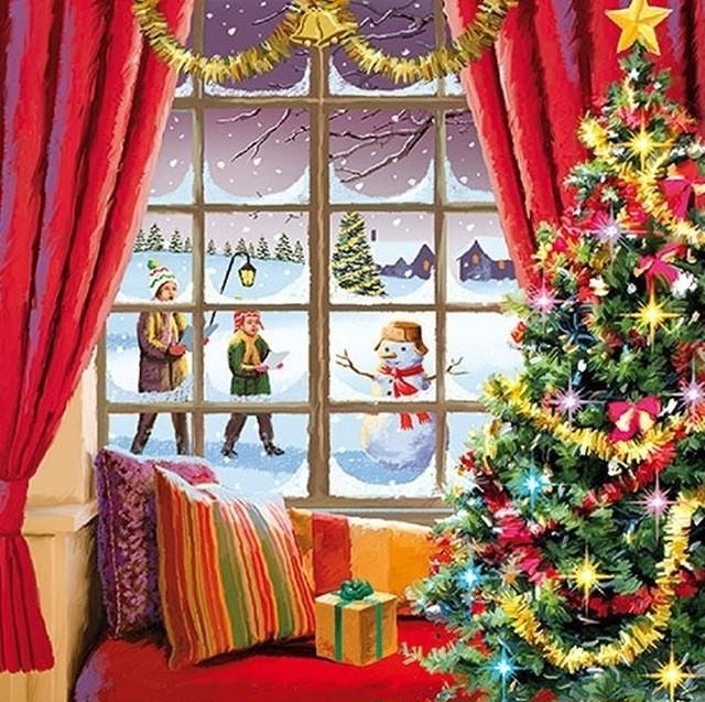 2021秋冬【Ambiente】バラ売り2枚 ランチサイズ ペーパーナプキン Christmas Window グリーン