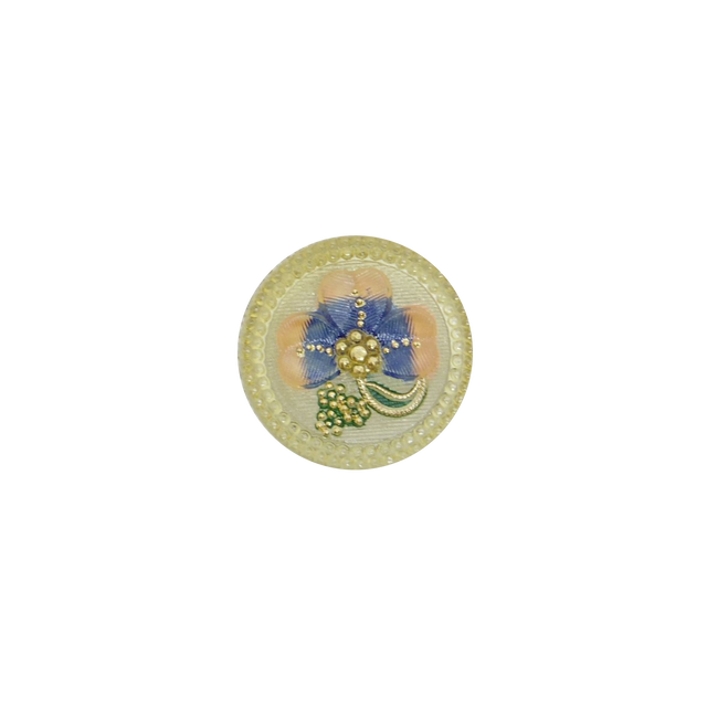 【チェコガラスボタン】クローバー・ピンクブルー ::: 大2.7cm