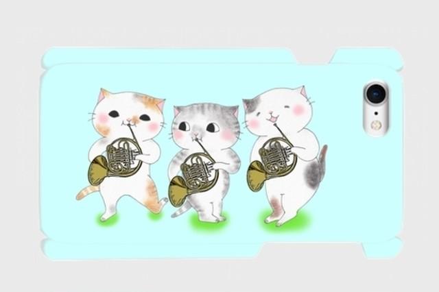 (iPhone用)ホルン3匹猫のスマホケース