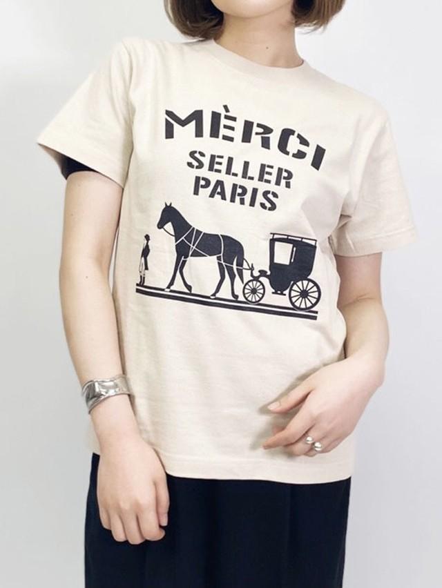 merciロゴTシャツ/Sサイズ[Color:ベージュ×ブラック]