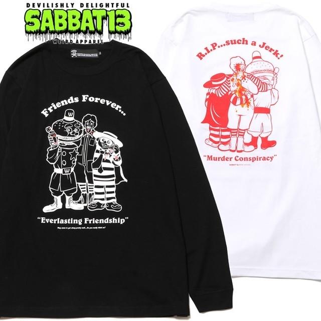 SABBAT13 / サバトサーティーン / サバト13「CONSPIRACY L/S T」ロンT 長袖 Tシャツ 黒 白 ブラック ホワイト クルーネック バックプリント スカル ドクロ メンズ レディース パンク ロック PUNK ROCK バンド フェス ギフトラッピング無料 ステージ衣装 Rogia
