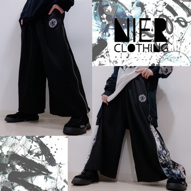 2WAY SIDE ZIP WIDE PANTS【WHITE PAINT】