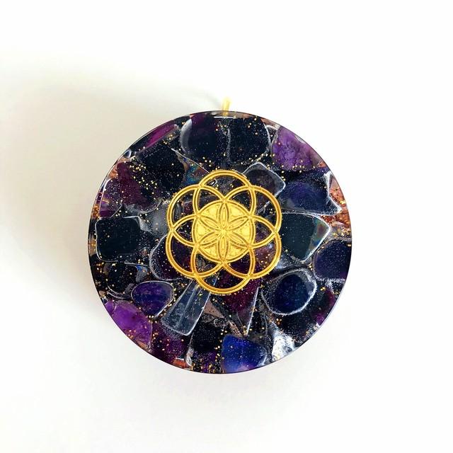 キーホルダー型オルゴナイト・11《スギライト》~癒し~