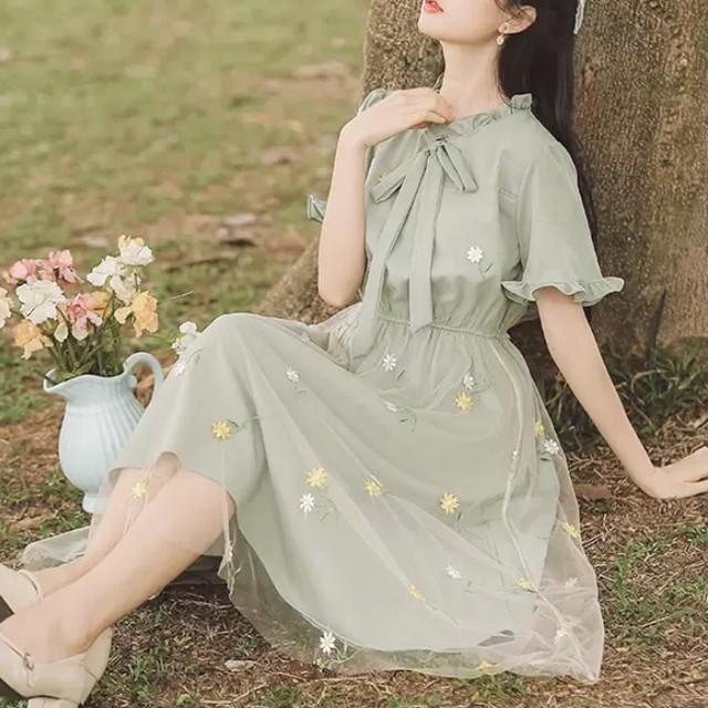 【ピックアップ割!残りわずか!】即日発送 花柄 デザイン 上品 フリル リボン ミドル丈 ワンピース グリーン C0276
