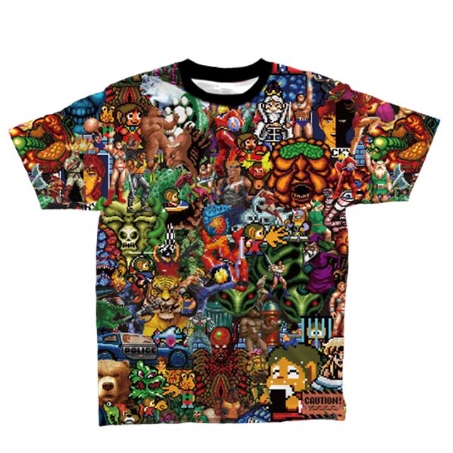 MEGADRIVE セガドットキャラ総柄Tシャツ / ANIPPON.
