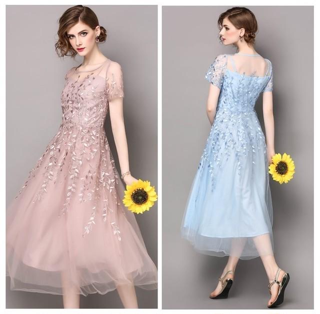 セレブ風 パーティー 二次会 披露宴 上品 美しい 大人優雅 刺繍ドレス