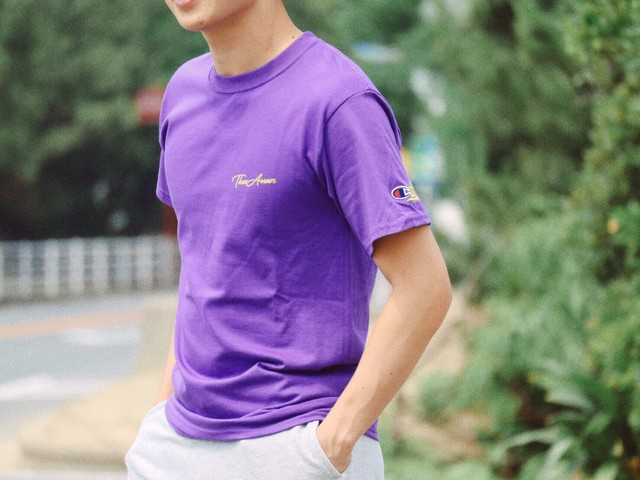 "【7/10 21:00 Re stock】""CAL "" Champion Tシャツ(purple)"