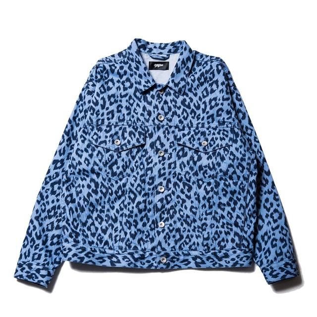Leopard denim jacket / INDIGO - メイン画像